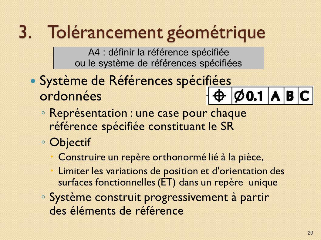 3.Tolérancement géométrique Système de Références spécifiées ordonnées Représentation : une case pour chaque référence spécifiée constituant le SR Objectif Construire un repère orthonormé lié à la pièce, Limiter les variations de position et d orientation des surfaces fonctionnelles (ET) dans un repère unique Système construit progressivement à partir des éléments de référence 29 A4 : définir la référence spécifiée ou le système de références spécifiées