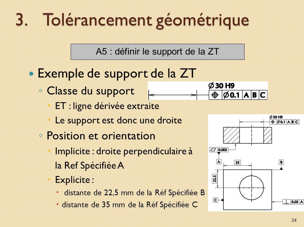 3.Tolérancement géométrique Exemple de support de la ZT Classe du support ET : ligne dérivée extraite Le support est donc une droite Position et orientation Implicite : droite perpendiculaire à la Ref Spécifiée A Explicite : distante de 22,5 mm de la Réf Spécifiée B distante de 35 mm de la Réf Spécifiée C 34 A5 : définir le support de la ZT