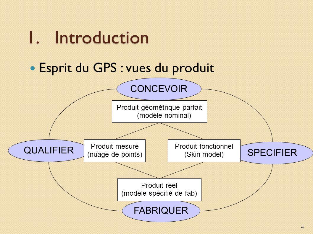 1.Introduction Esprit du GPS : vues du produit 4 QUALIFIER CONCEVOIR SPECIFIER FABRIQUER Produit géométrique parfait (modèle nominal) Produit fonction
