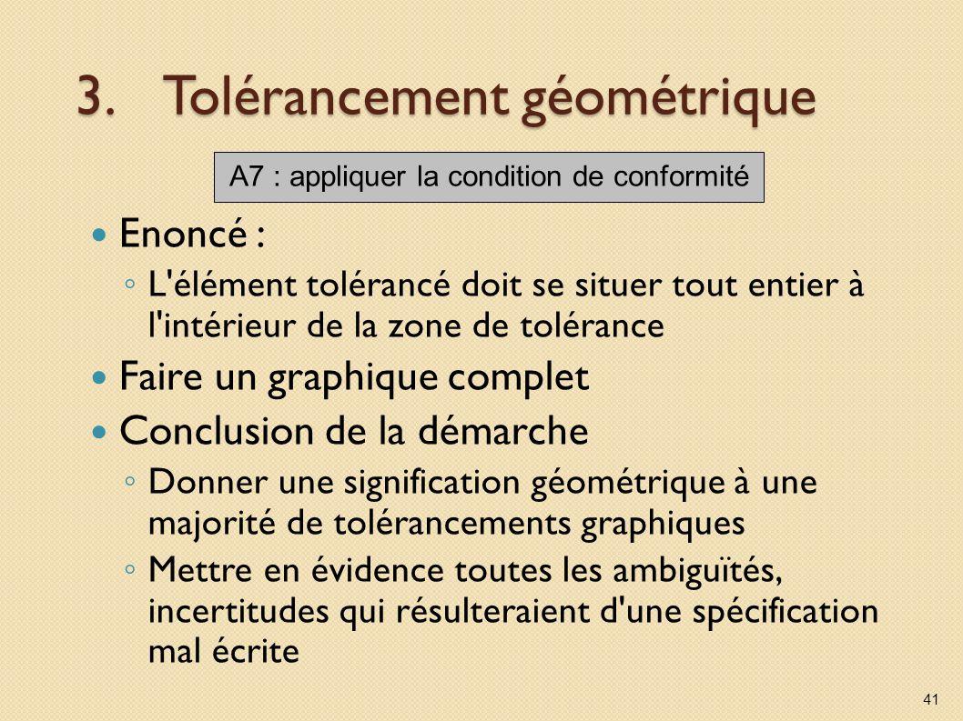 3.Tolérancement géométrique Enoncé : L'élément tolérancé doit se situer tout entier à l'intérieur de la zone de tolérance Faire un graphique complet C