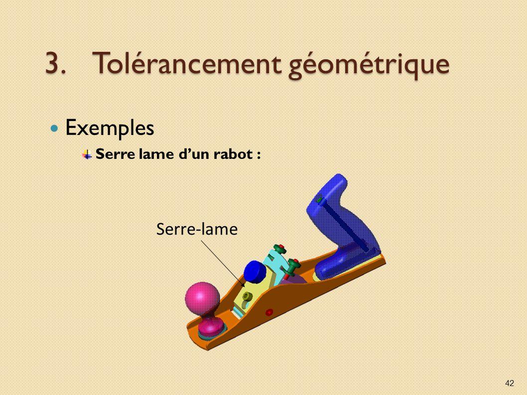 3.Tolérancement géométrique Exemples Serre lame dun rabot : 42 Serre-lame