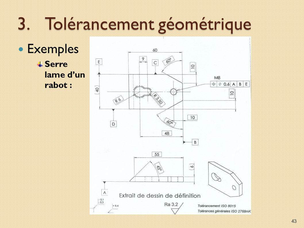 3.Tolérancement géométrique Exemples Serre lame dun rabot : 43