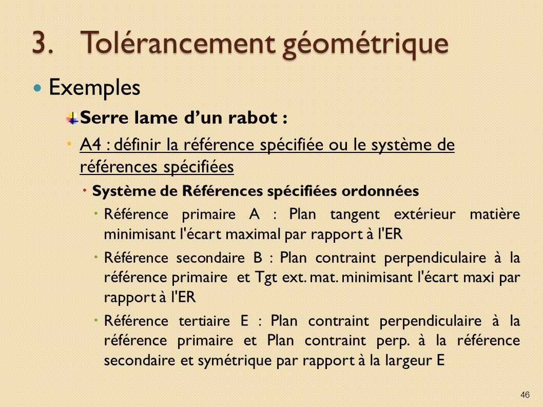 3.Tolérancement géométrique Exemples Serre lame dun rabot : A4 : définir la référence spécifiée ou le système de références spécifiées Système de Réfé