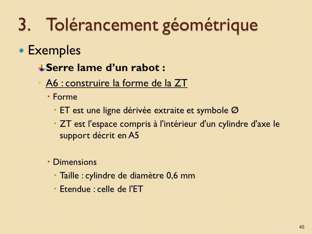 3.Tolérancement géométrique Exemples Serre lame dun rabot : A6 : construire la forme de la ZT Forme ET est une ligne dérivée extraite et symbole Ø ZT est l espace compris à l intérieur d un cylindre d axe le support décrit en A5 Dimensions Taille : cylindre de diamètre 0,6 mm Etendue : celle de l ET 48