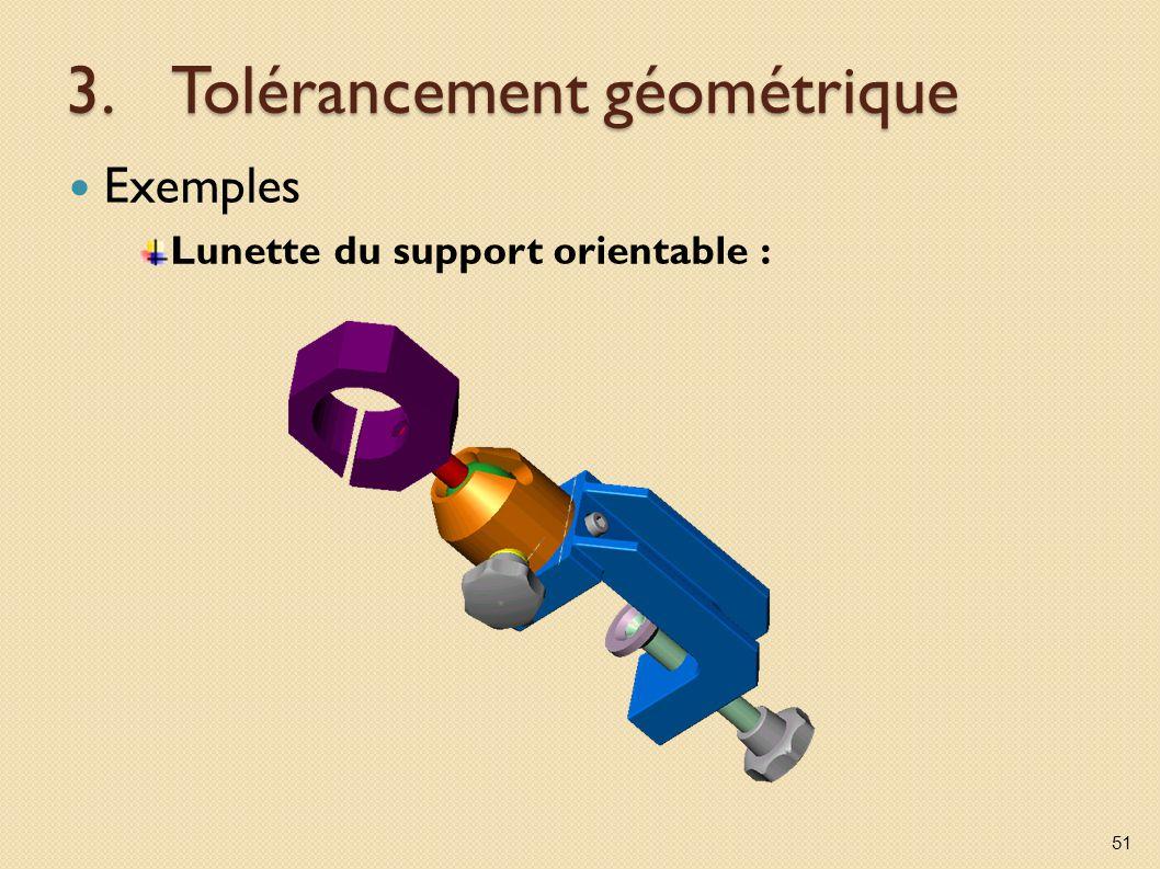 3.Tolérancement géométrique Exemples Lunette du support orientable : 51