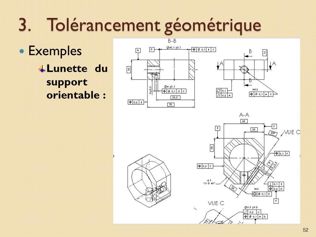 3.Tolérancement géométrique Exemples Lunette du support orientable : 52