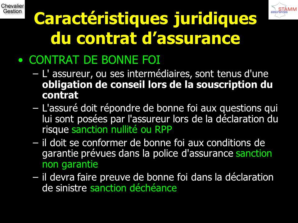Caractéristiques juridiques du contrat dassurance CONTRAT DE BONNE FOI –L' assureur, ou ses intermédiaires, sont tenus d'une obligation de conseil lor