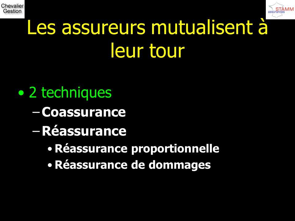 Les assureurs mutualisent à leur tour 2 techniques –Coassurance –Réassurance Réassurance proportionnelle Réassurance de dommages