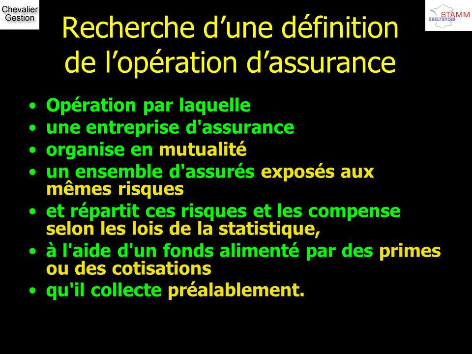 Recherche dune définition de lopération dassurance Opération par laquelle une entreprise d'assurance organise en mutualité un ensemble d'assurés expos