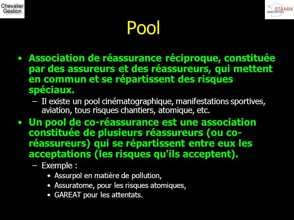 Pool Association de réassurance réciproque, constituée par des assureurs et des réassureurs, qui mettent en commun et se répartissent des risques spéc