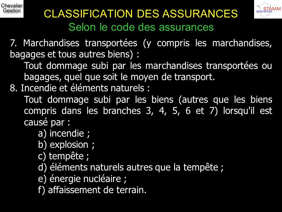 CLASSIFICATION DES ASSURANCES Selon le code des assurances 7. Marchandises transportées (y compris les marchandises, bagages et tous autres biens) : T