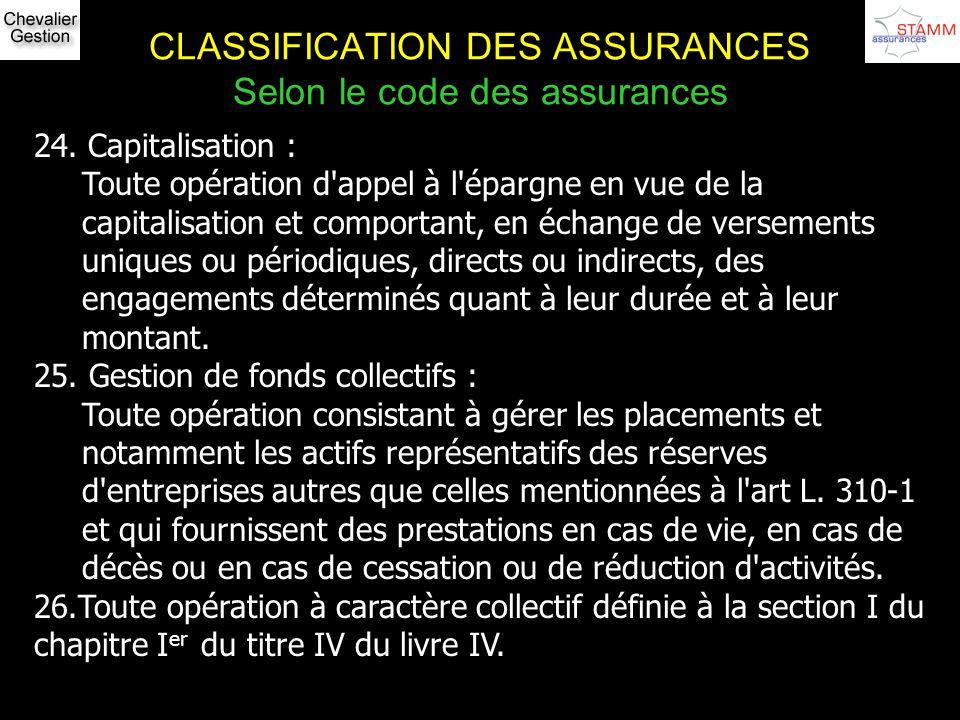 CLASSIFICATION DES ASSURANCES Selon le code des assurances 24. Capitalisation : Toute opération d'appel à l'épargne en vue de la capitalisation et com