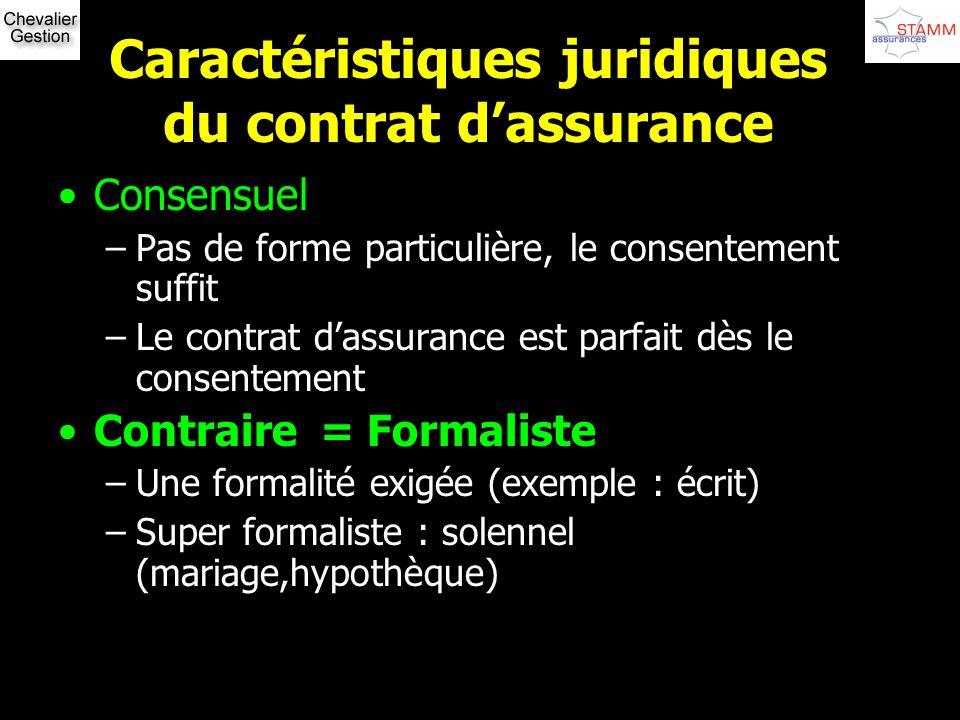 Caractéristiques juridiques du contrat dassurance Consensuel –Pas de forme particulière, le consentement suffit –Le contrat dassurance est parfait dès