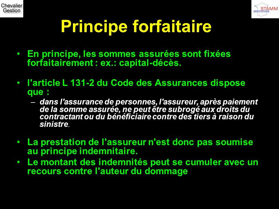Principe forfaitaire En principe, les sommes assurées sont fixées forfaitairement : ex.: capital-décès. l'article L 131-2 du Code des Assurances dispo