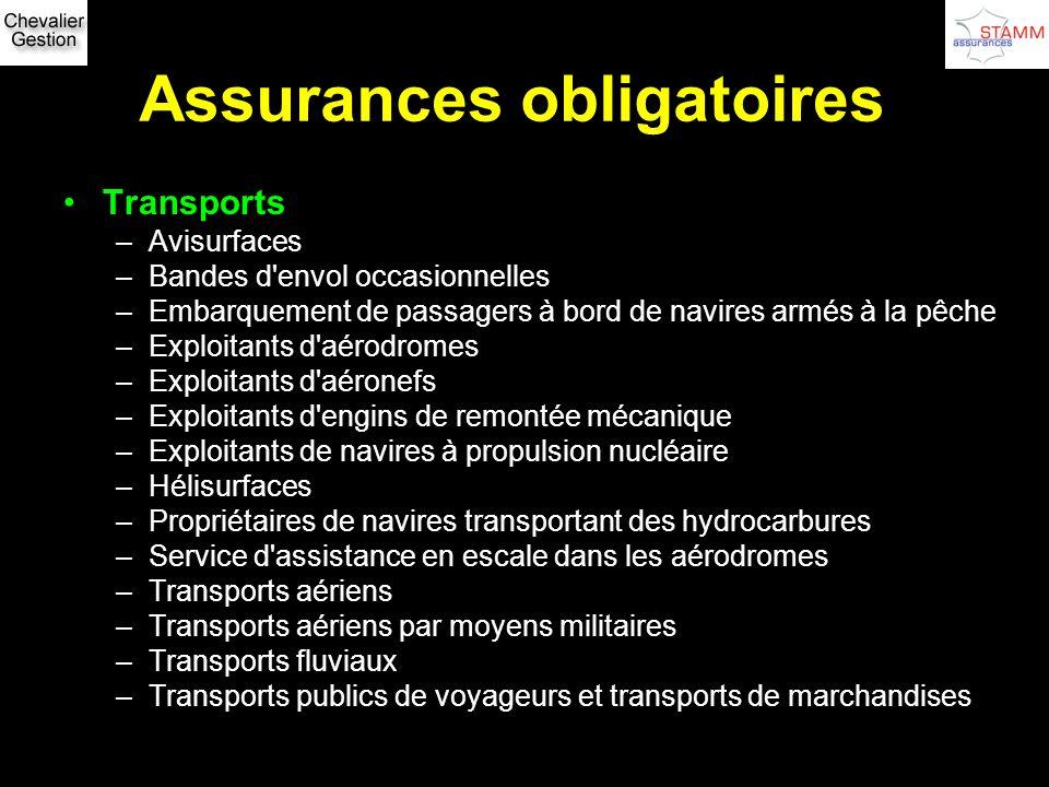 Assurances obligatoires Transports –Avisurfaces –Bandes d'envol occasionnelles –Embarquement de passagers à bord de navires armés à la pêche –Exploita