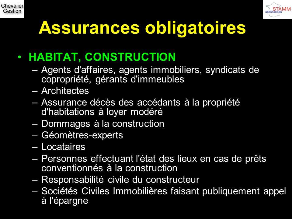 Assurances obligatoires HABITAT, CONSTRUCTION –Agents d'affaires, agents immobiliers, syndicats de copropriété, gérants d'immeubles –Architectes –Assu
