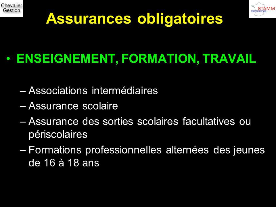 Assurances obligatoires ENSEIGNEMENT, FORMATION, TRAVAIL –Associations intermédiaires –Assurance scolaire –Assurance des sorties scolaires facultative