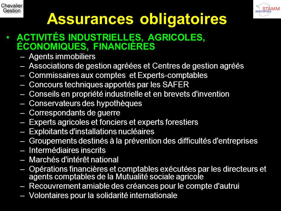 Assurances obligatoires ACTIVITÉS INDUSTRIELLES, AGRICOLES, ÉCONOMIQUES, FINANCIÈRES –Agents immobiliers –Associations de gestion agréées et Centres d
