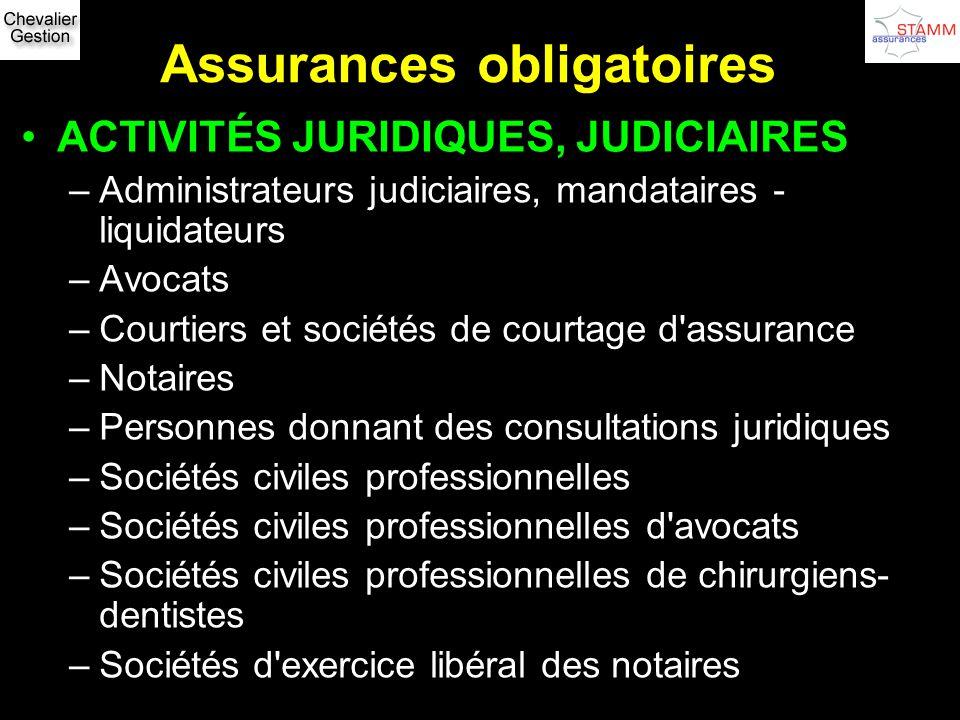 Assurances obligatoires ACTIVITÉS JURIDIQUES, JUDICIAIRES –Administrateurs judiciaires, mandataires - liquidateurs –Avocats –Courtiers et sociétés de
