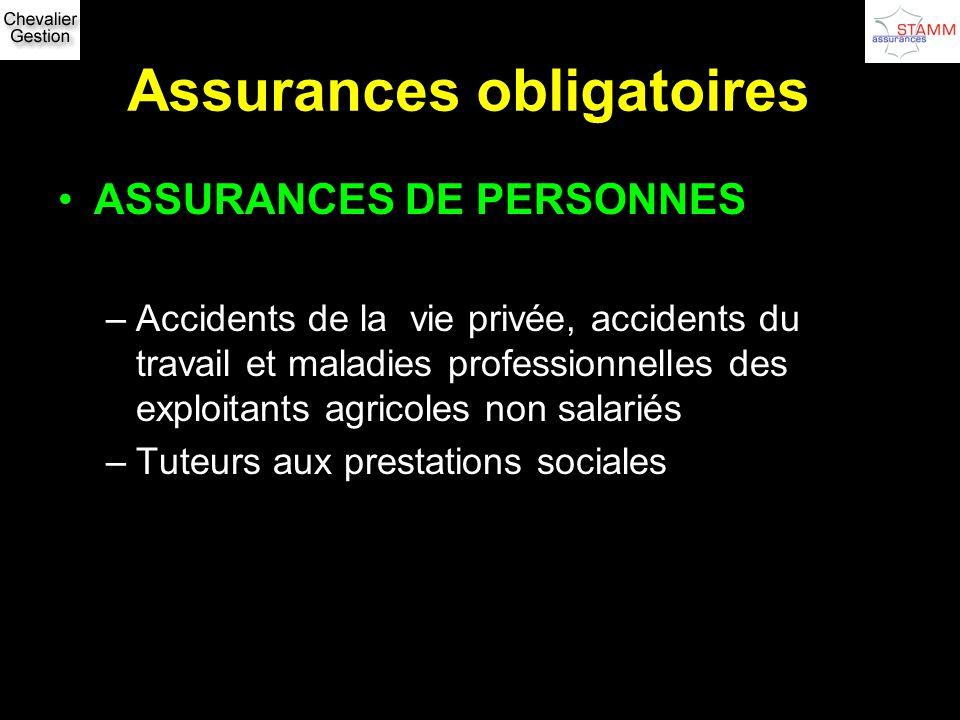 Assurances obligatoires ASSURANCES DE PERSONNES –Accidents de la vie privée, accidents du travail et maladies professionnelles des exploitants agricol