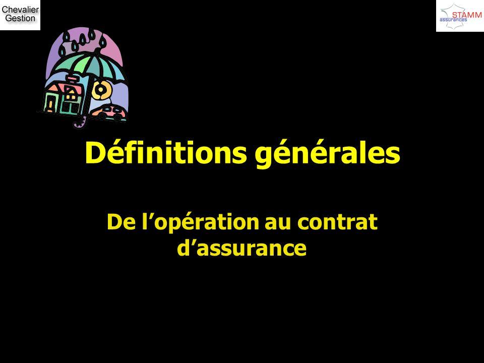 Définitions générales De lopération au contrat dassurance