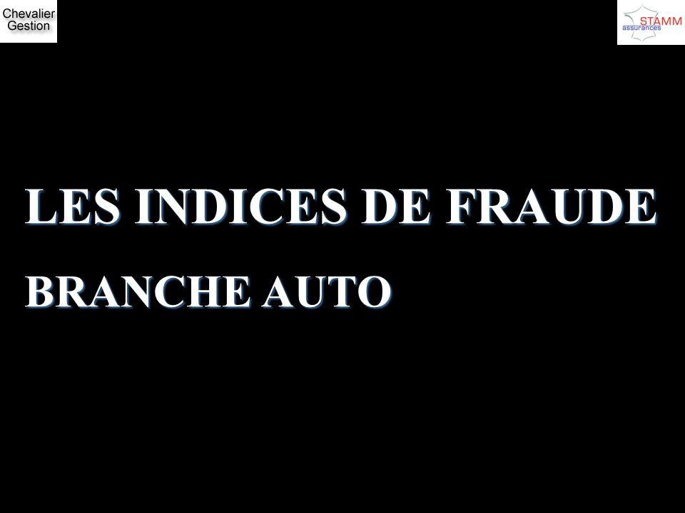 LES INDICES DE FRAUDE BRANCHE AUTO