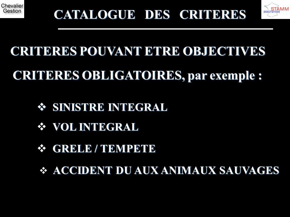CATALOGUE DES CRITERES CRITERES POUVANT ETRE OBJECTIVES CRITERES OBLIGATOIRES, par exemple : SINISTRE INTEGRAL SINISTRE INTEGRAL VOL INTEGRAL GRELE /
