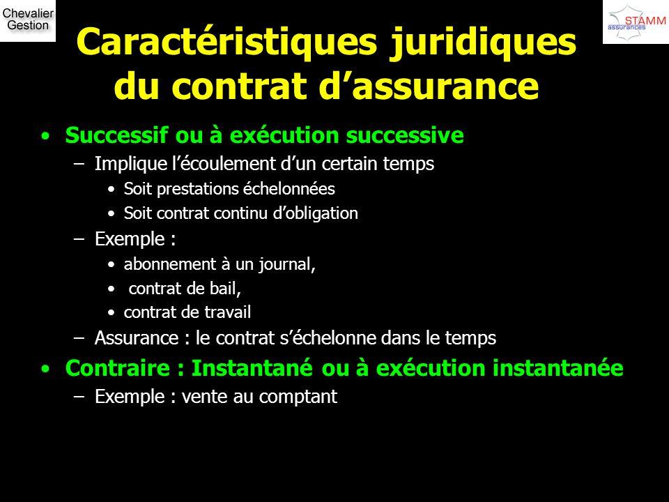 Caractéristiques juridiques du contrat dassurance Successif ou à exécution successive –Implique lécoulement dun certain temps Soit prestations échelon