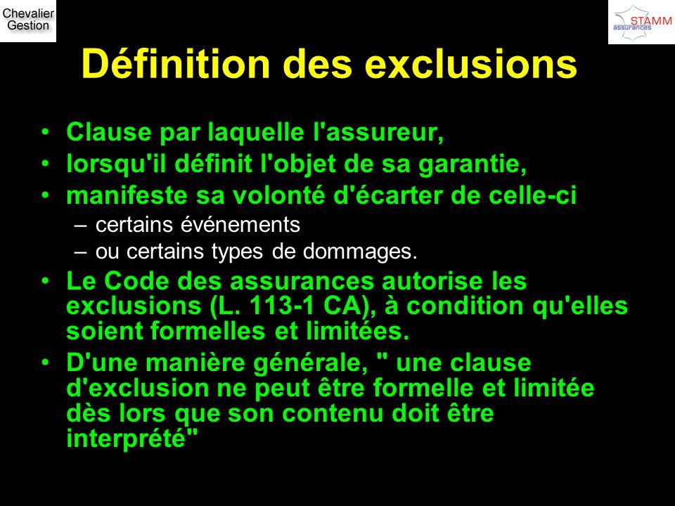 Définition des exclusions Clause par laquelle l'assureur, lorsqu'il définit l'objet de sa garantie, manifeste sa volonté d'écarter de celle-ci –certai