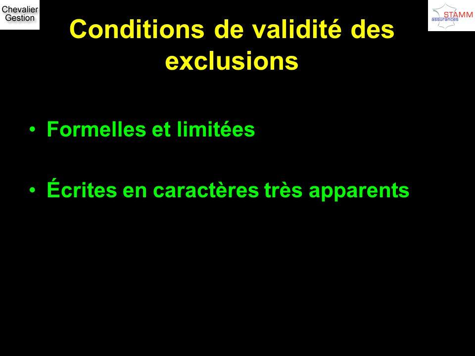 Conditions de validité des exclusions Formelles et limitées Écrites en caractères très apparents