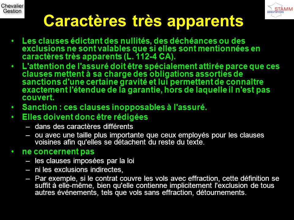 Caractères très apparents Les clauses édictant des nullités, des déchéances ou des exclusions ne sont valables que si elles sont mentionnées en caract