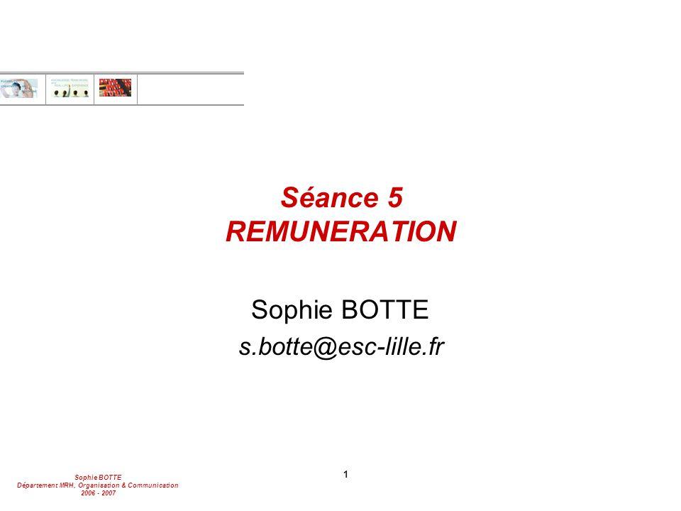 Sophie BOTTE Département MRH, Organisation & Communication 2006 - 2007 22 Les tendances Part aléatoire Part fixe Part collective Part individuelle Participation Intéressement Actionnariat Salaire conventionnel Augm générales Primes individuelles Boni Augm.