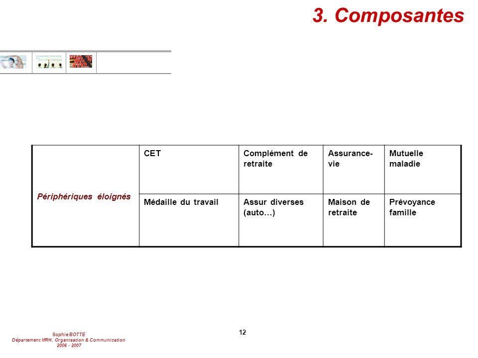 Sophie BOTTE Département MRH, Organisation & Communication 2006 - 2007 12 3. Composantes Périphériques éloignés CETComplément de retraite Assurance- v