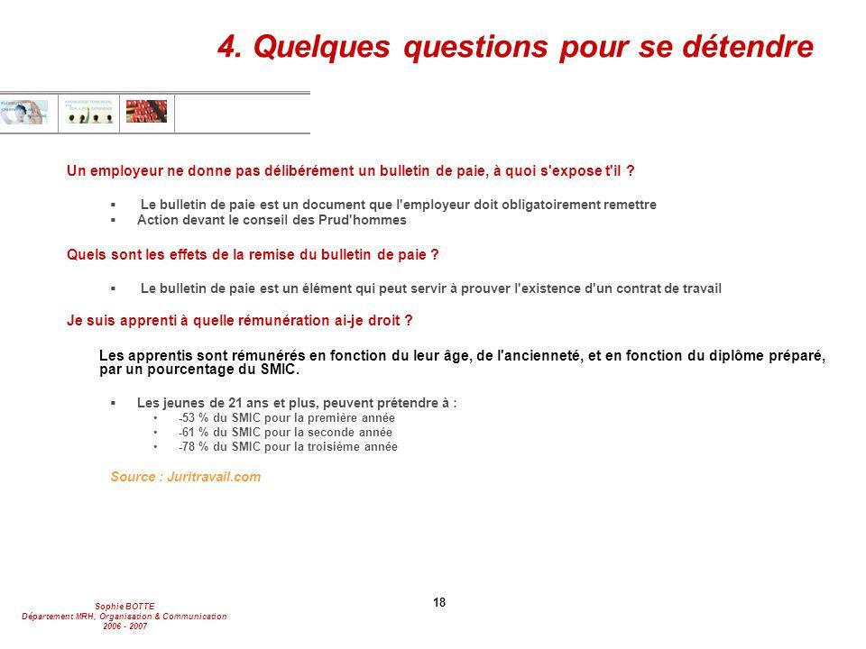 Sophie BOTTE Département MRH, Organisation & Communication 2006 - 2007 18 4. Quelques questions pour se détendre Un employeur ne donne pas délibérémen