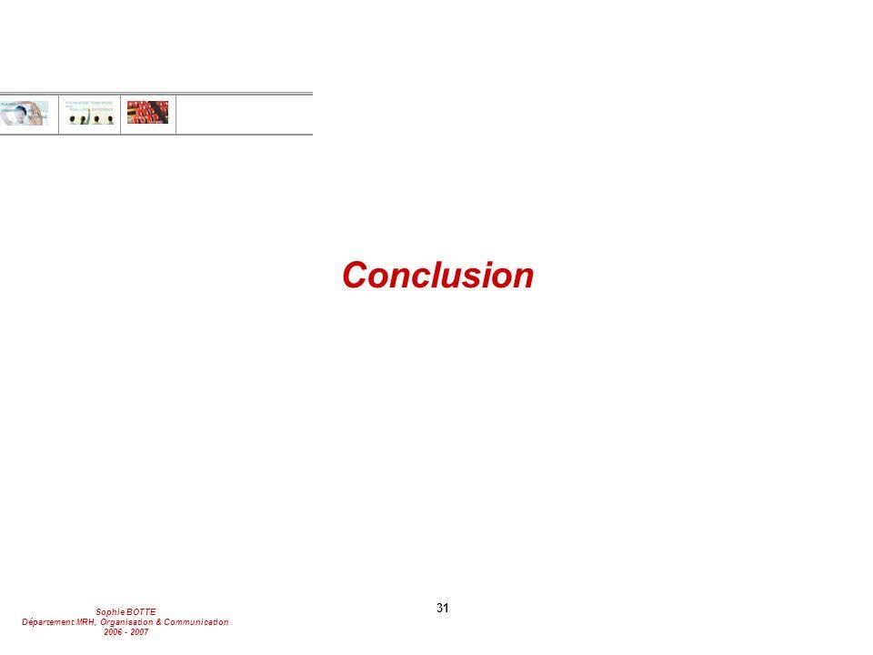 Sophie BOTTE Département MRH, Organisation & Communication 2006 - 2007 31 Conclusion