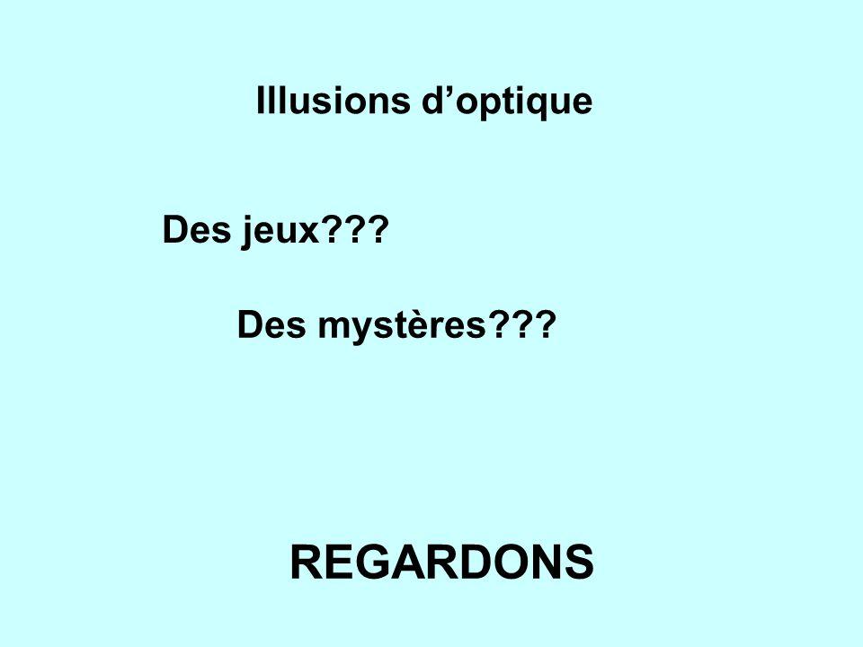 Illusions doptique Des jeux??? Des mystères??? REGARDONS