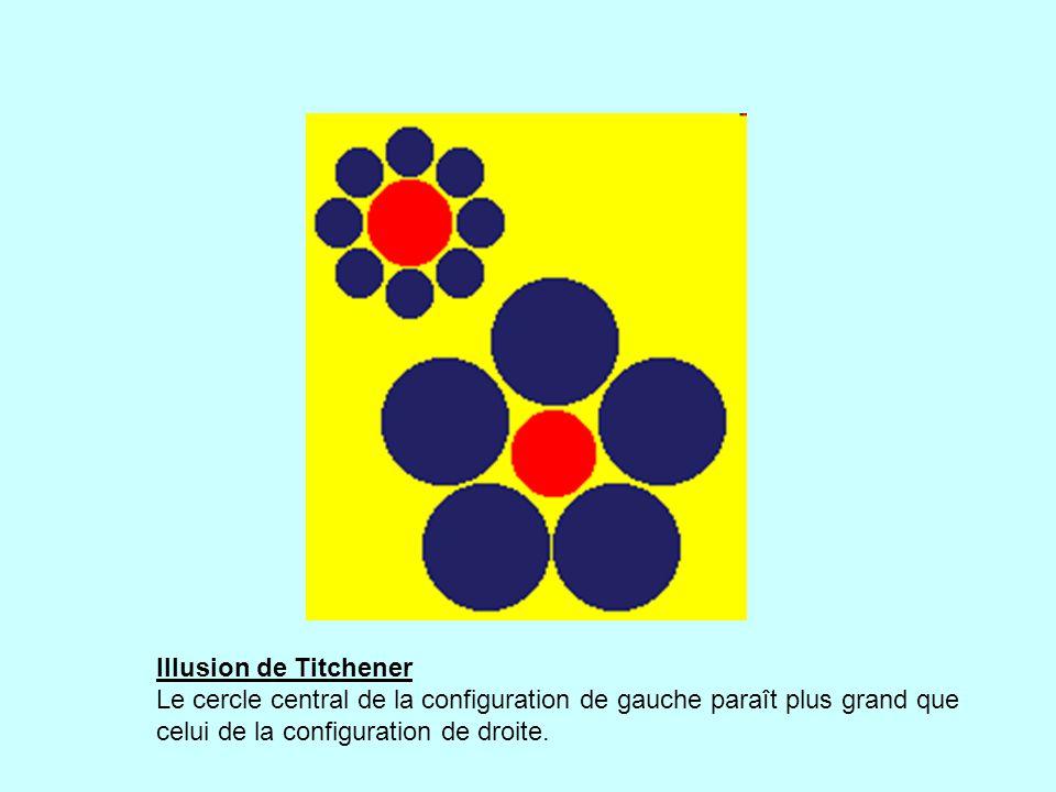 Illusion de Titchener Le cercle central de la configuration de gauche paraît plus grand que celui de la configuration de droite.