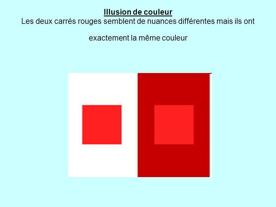 Illusion de couleur Les deux carrés rouges semblent de nuances différentes mais ils ont exactement la même couleur