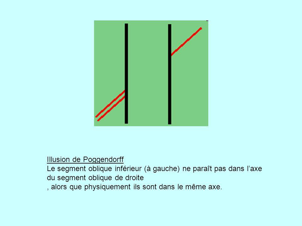 Illusion de Poggendorff Le segment oblique inférieur (à gauche) ne paraît pas dans laxe du segment oblique de droite, alors que physiquement ils sont dans le même axe.