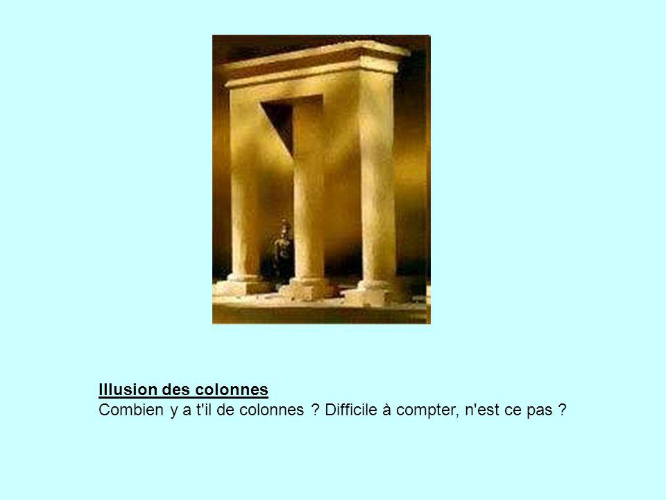 Illusion des colonnes Combien y a t il de colonnes ? Difficile à compter, n est ce pas ?