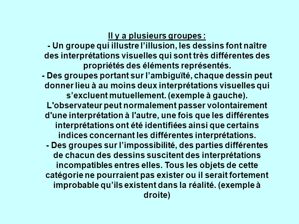 Il y a plusieurs groupes : - Un groupe qui illustre lillusion, les dessins font naître des interprétations visuelles qui sont très différentes des propriétés des éléments représentés.