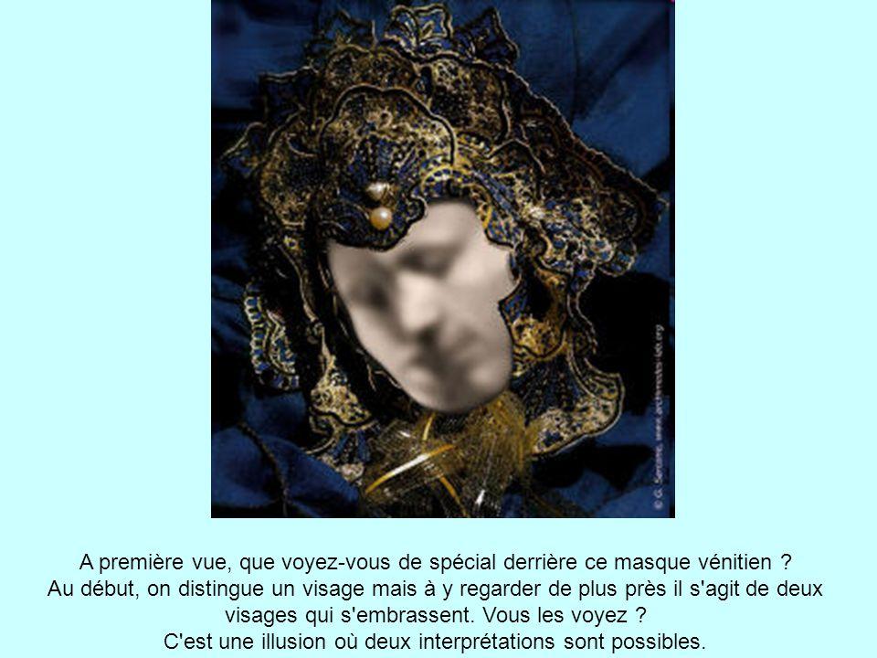 A première vue, que voyez-vous de spécial derrière ce masque vénitien .
