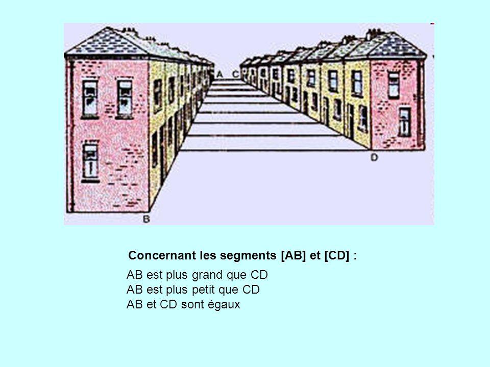 Concernant les segments [AB] et [CD] : AB est plus grand que CD AB est plus petit que CD AB et CD sont égaux