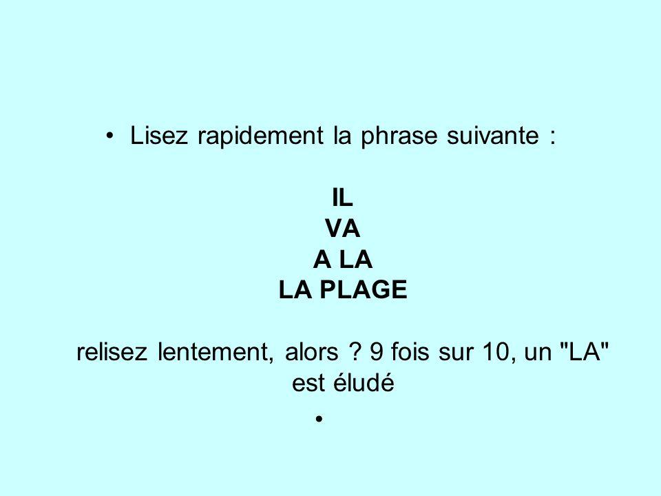 Lisez rapidement la phrase suivante : IL VA A LA LA PLAGE relisez lentement, alors .