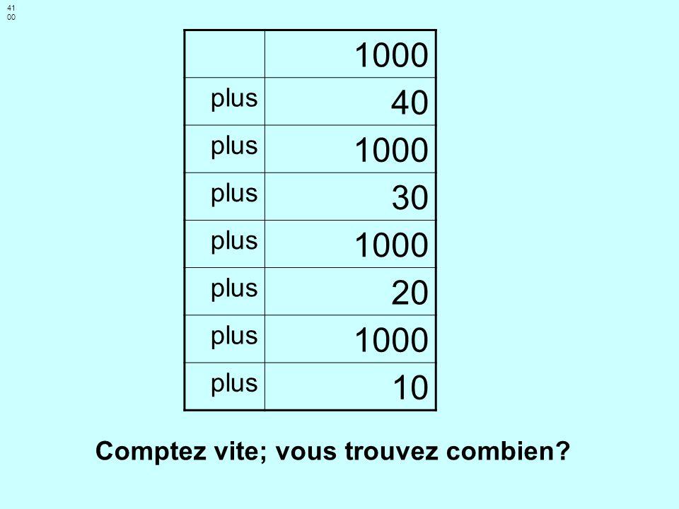 41 00 1000 plus 40 plus 1000 plus 30 plus 1000 plus 20 plus 1000 plus 10 Comptez vite; vous trouvez combien?