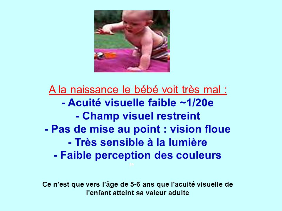 Ce n est que vers l âge de 5-6 ans que l acuité visuelle de l enfant atteint sa valeur adulte A la naissance le bébé voit très mal : - Acuité visuelle faible ~1/20e - Champ visuel restreint - Pas de mise au point : vision floue - Très sensible à la lumière - Faible perception des couleurs