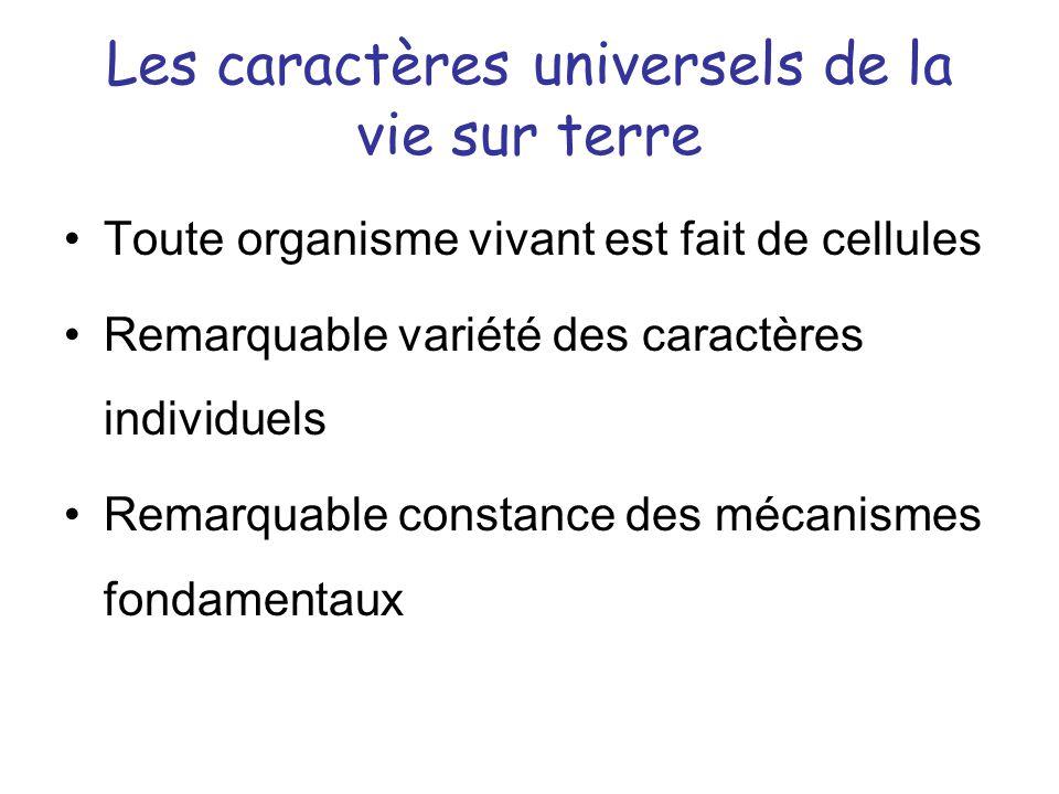 Les caractères universels de la vie sur terre Toute organisme vivant est fait de cellules Remarquable variété des caractères individuels Remarquable c