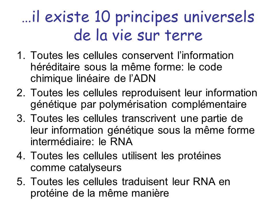 …il existe 10 principes universels de la vie sur terre 1.Toutes les cellules conservent linformation héréditaire sous la même forme: le code chimique