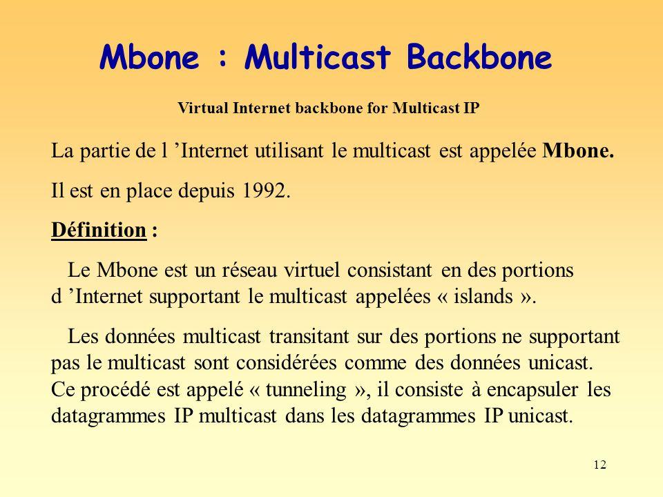 12 Mbone : Multicast Backbone La partie de l Internet utilisant le multicast est appelée Mbone. Il est en place depuis 1992. Définition : Le Mbone est