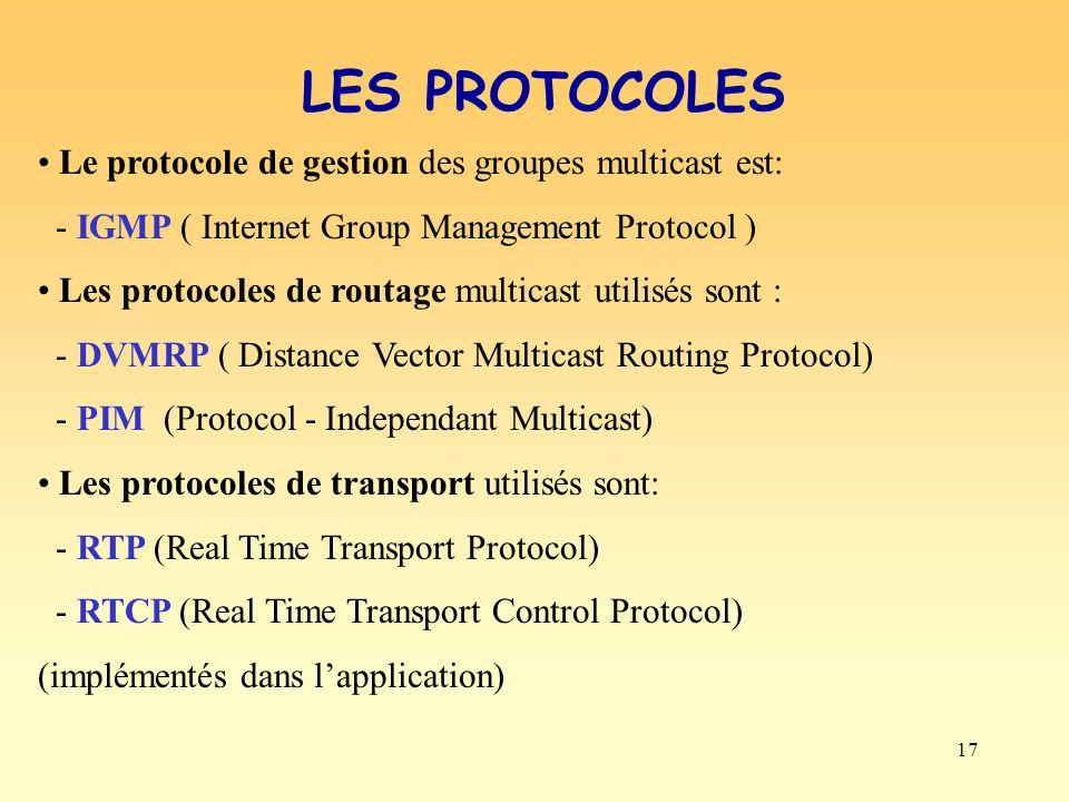17 LES PROTOCOLES Le protocole de gestion des groupes multicast est: - IGMP ( Internet Group Management Protocol ) Les protocoles de routage multicast